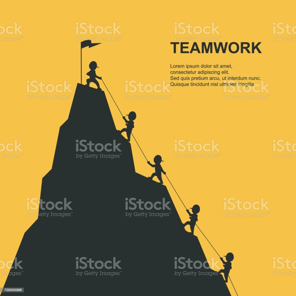 Leader help their friend to climb to the top of the mountain. Vector illustration. vector art illustration