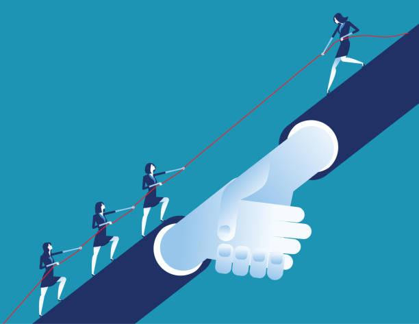 Leader helping business team. Concept business vector illustration. Flat desing style. vector art illustration