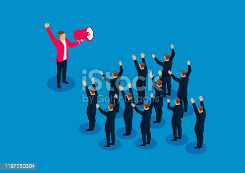 690508154 istock photo Leader holding megaphone to focus a group of businessmen shouting to boost morale 1197250304