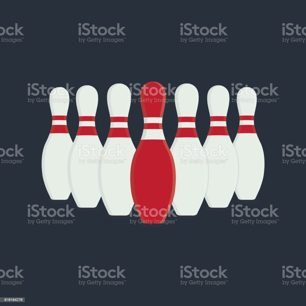 Leader Illustration. Flat Design of Bowling Skittles vector art illustration