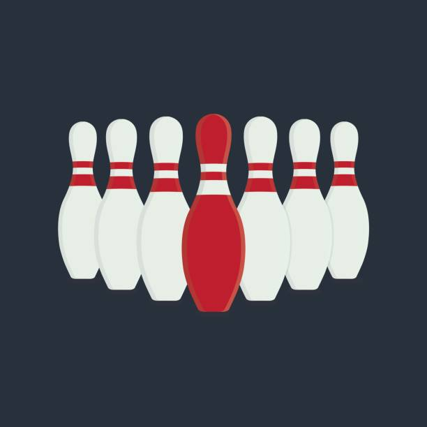 Leader Illustration. Flat Design of Bowling Skittles vector art illustration
