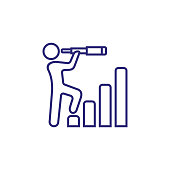 Leader line icon. Bar diagram, stages, man, spyglass. Leadership concept. Can be used for topics like business, management, planning, strategy, career promotion