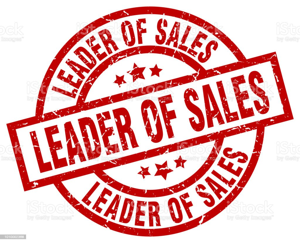 Leader Of Sales Round Red Grunge Stamp Stock Illustration