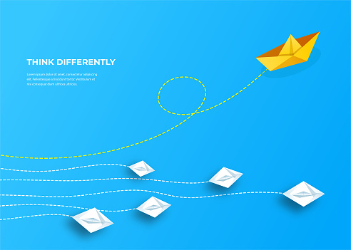 Leader paper boat. Think differently, leadership, trends, creative solution and unique way concept. Be different.