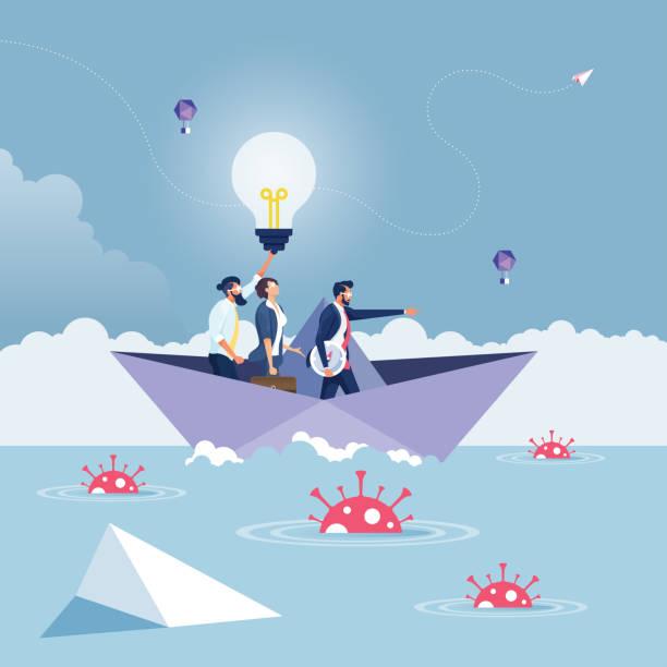リーダーの指差し コロナウイルス危機を克服する-ビジネスリーダーシップの概念 - challenge点のイラスト素材/クリップアート素材/マンガ素材/アイコン素材