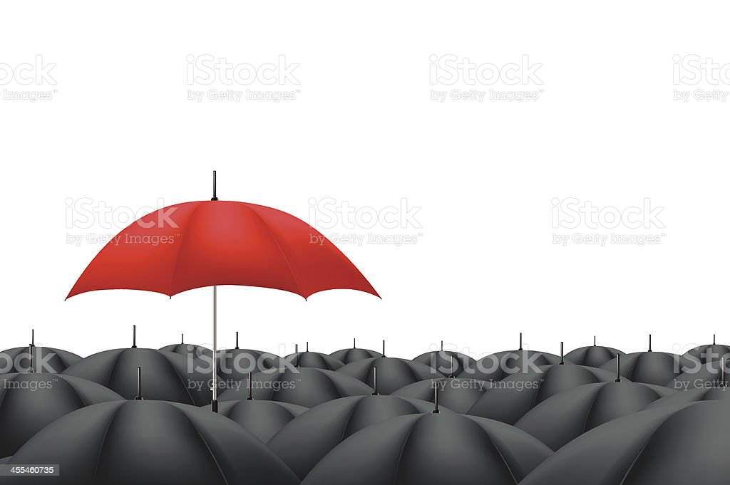 Leader Red Umbrella royalty-free stock vector art