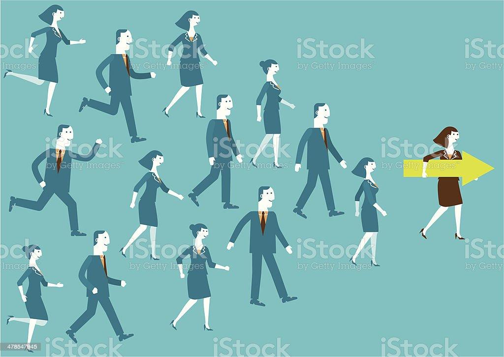 Leader Shows Direction | New Business Concept vector art illustration