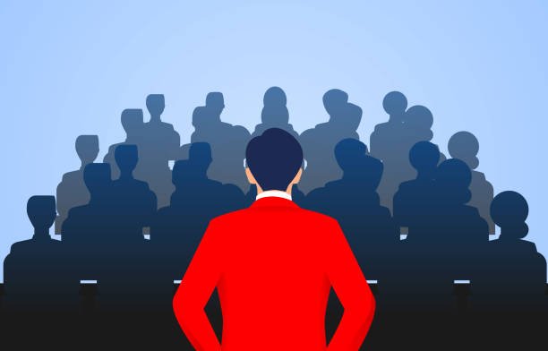 Leader stands in front of a group of people speaking vector art illustration