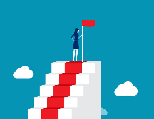 Leader successful, Man on the top of stairs. Concept business vector illustration, Achievement, Winner vector art illustration