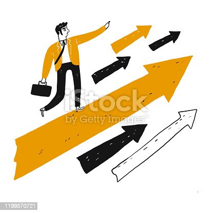 Leader with vision stands on a large orange arrow and charged ahead, Vector illustration in sketch doodle style.