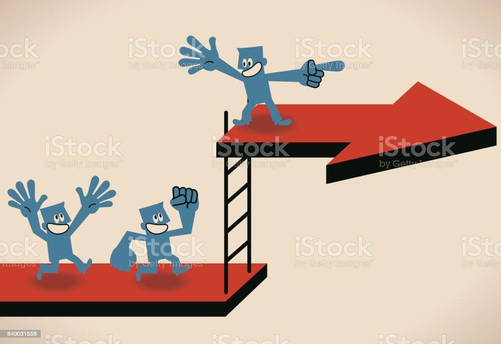Ilustración de Liderazgo Y Seguir Creciendo Empresario Escalera Al ...