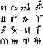 Leadership black & white icon set