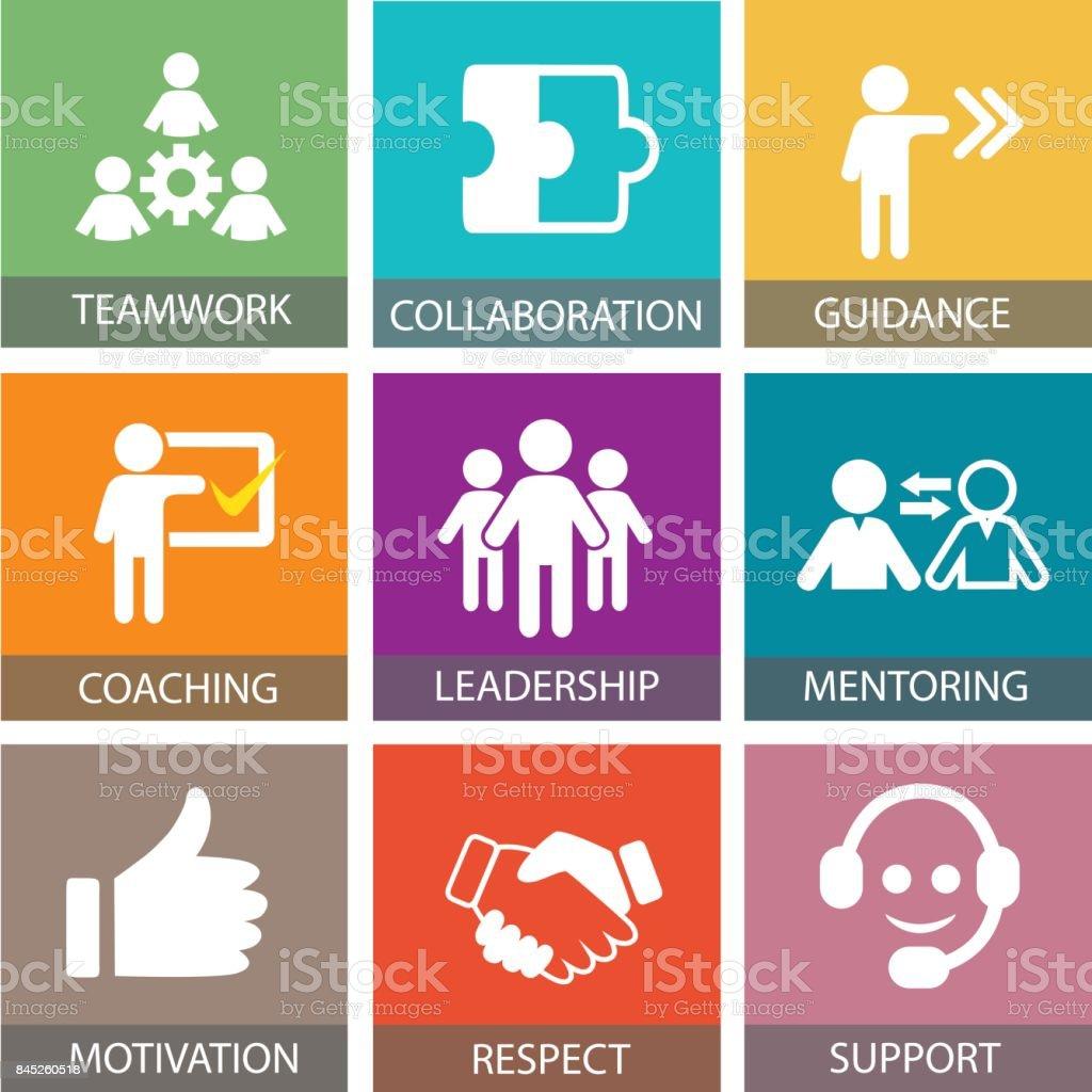 Führung-Business-Konzept. Führende Leute Symbol Typografie – Vektorgrafik