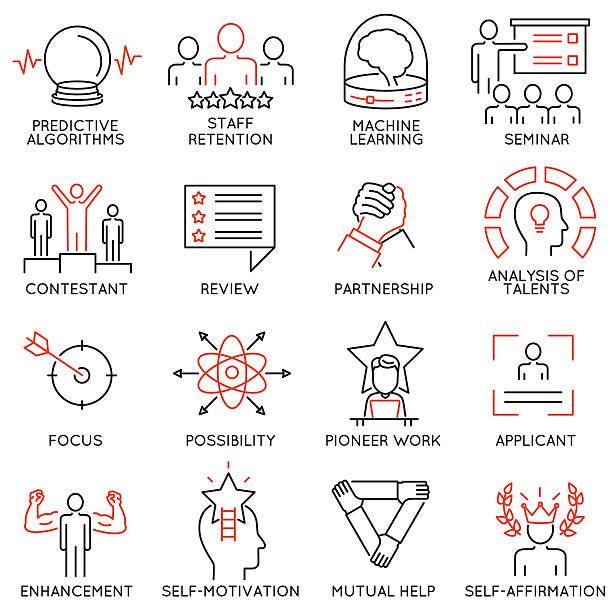 leadership, career progress and personal training - part 3 - rechtsassistent stock-grafiken, -clipart, -cartoons und -symbole