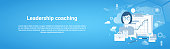 Leadership Coaching Web Horizontal Banner With Copy Space On Blue Background