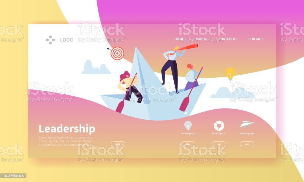 Leadership Concept Landing Page Template Website Layout With Flat People  Characters With Spyglass On Paper Ships Easy To Edit And Customize Mobile  Web
