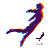 Leadership concept. Personal and Career Growth. Start Up Business Concept. Beginning of Business Ideas. Silhouettes of men. Vector Illustration.