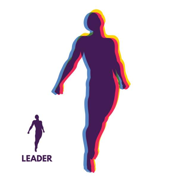 Leadership concept. Personal and Career Growth. Start Up Business Concept. Beginning of Business Ideas. Silhouettes of men. Vector. vector art illustration