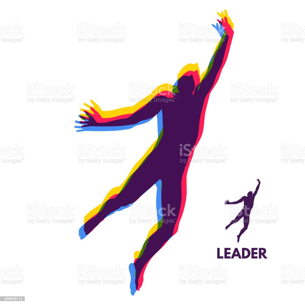 Leadership concept. Personal and Career Growth. Start Up Business Concept. Beginning of Business Ideas. Silhouettes of men. Vector Illustration. vector art illustration