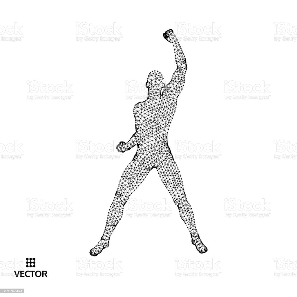 Leadership concept. Standing Man. Human with arm up. Silhouette for sport championship. Vector Illustration. vector art illustration