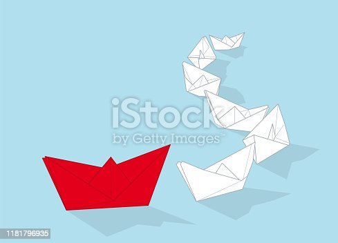 istock Leadership concept vector illustration with paper boats 1181796935