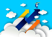 Leadership concept with arrows on white clouds. Businessman with spyglass on a top illustration in paper art style. Business leader poster