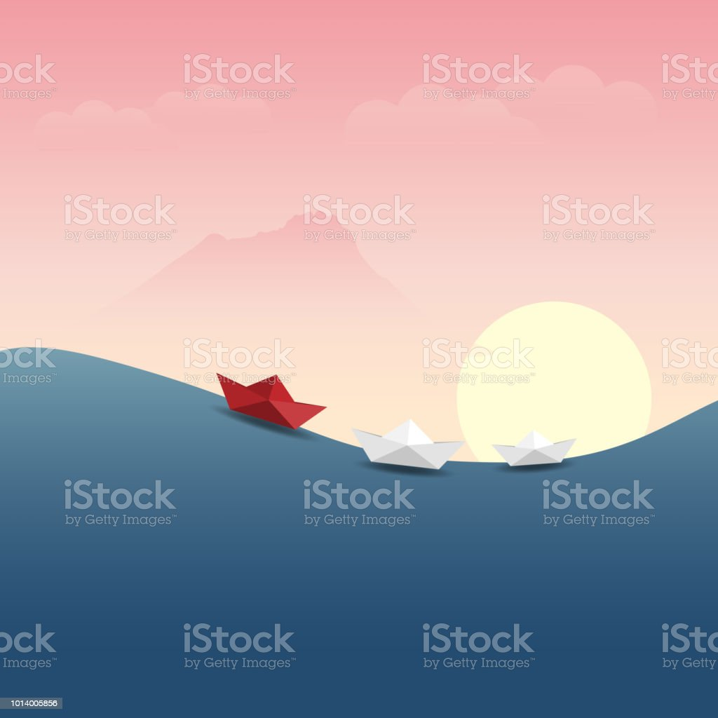 leadership concept with red and white paper boat vector art illustration