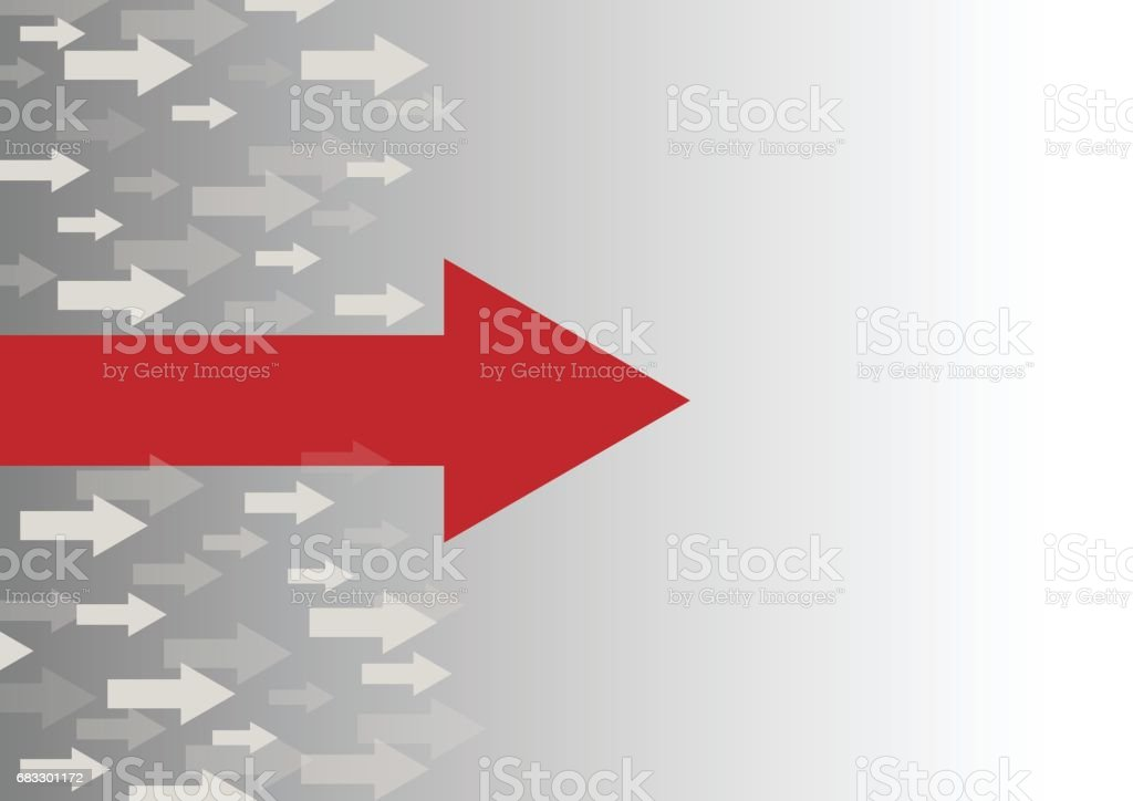 Leadership concept with red arrow leading among white vector art illustration