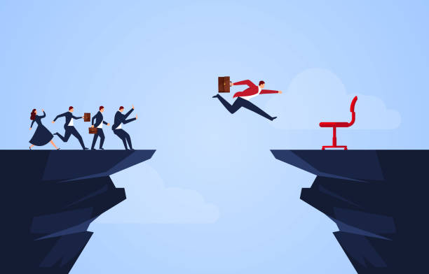 Leadership, courage to compete Leadership, courage to compete cliffs stock illustrations
