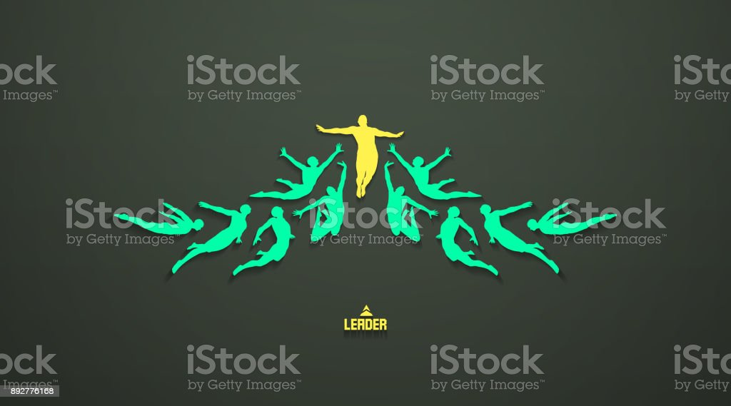 Leadership, freedom or happiness concept. Successful team leader. Vector illustration with people silhouette for business. vector art illustration