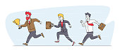 Leadership, Goal Achievement Concept. Colleagues Follow Successful Leader. Businesspeople Characters Running by Row Following Businessman Holding Gold Cup in Hands. Linear People Vector Illustration