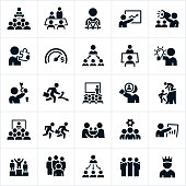 A set of leadership icons. The icons show different business leaders in management type positions and illustrate many different leadership concepts.