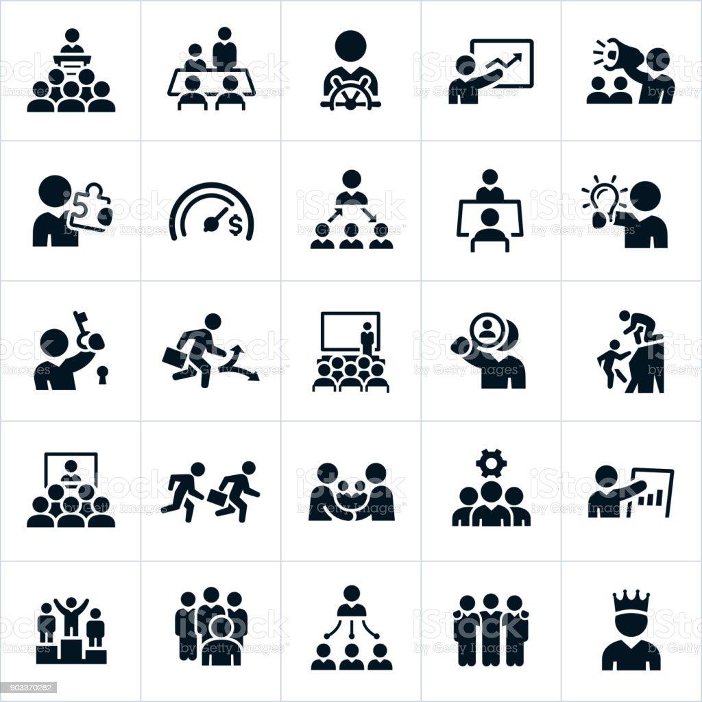 Ícones de liderança - ilustração de arte em vetor