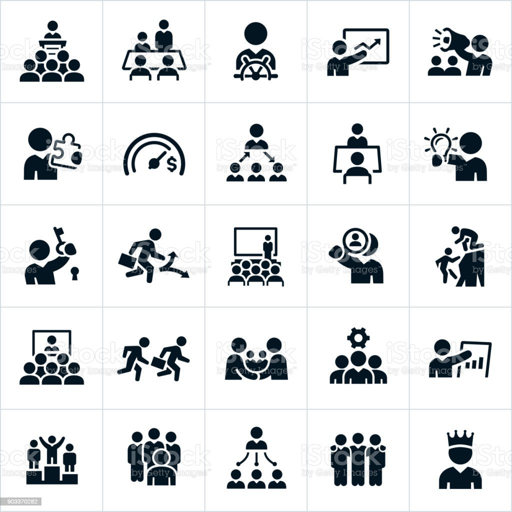 Leadership Icons vector art illustration