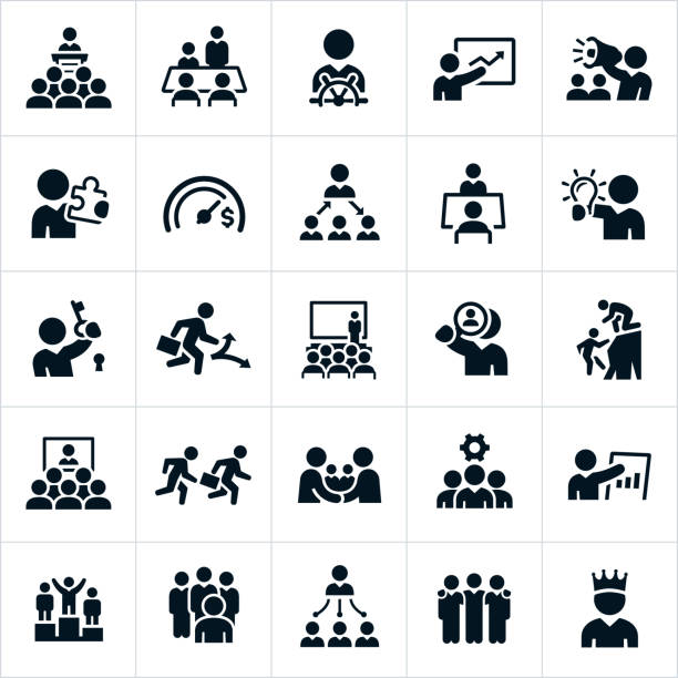stockillustraties, clipart, cartoons en iconen met leiderschap pictogrammen - leader