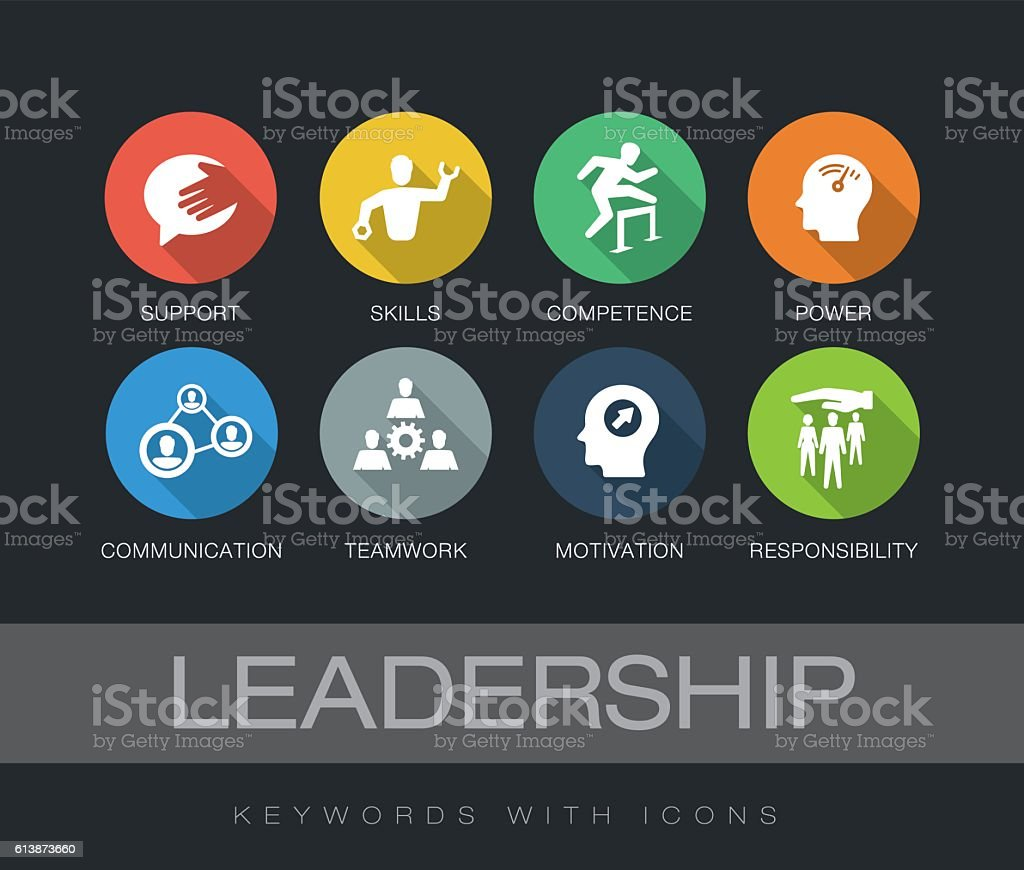 Leadership keywords with icons vector art illustration