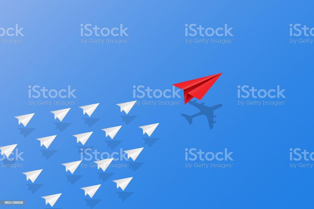 Concept de leadership, travail d'équipe et le courage, avion de papier rouge avec une ombre d'avion pour chef de file et le livre blanc des avions volant le ciel. - clipart vectoriel de Abstrait libre de droits