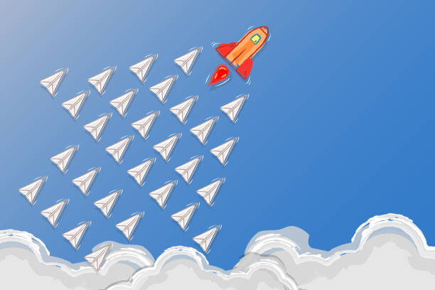 Leadership, teamwork and courage concept, Rocket for leader and paper plane – artystyczna grafika wektorowa