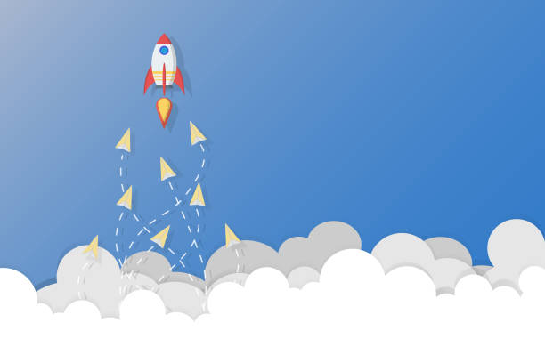 Leadership, teamwork and courage concept, Rocket for leader and paper planes. – artystyczna grafika wektorowa