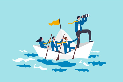 Leadership to lead business in crisis, teamwork or support to achieve target, vision or forward strategy for success concept, businessman leader with binoculars lead business team sailing origami ship