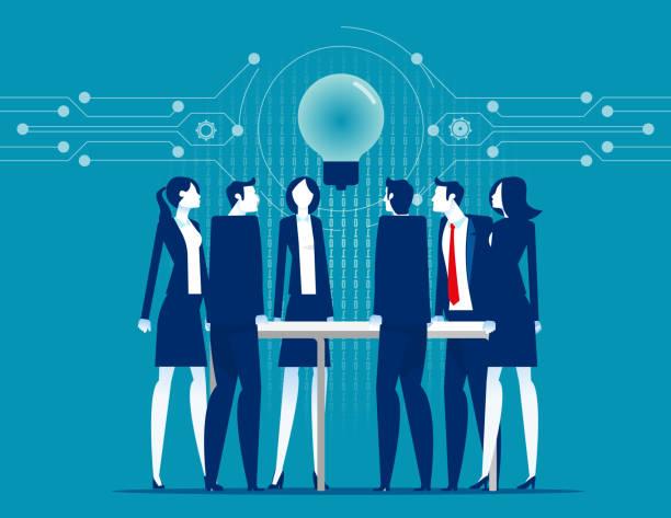 Leadership unity. Process support concept. Flat cartoon vector style design vector art illustration