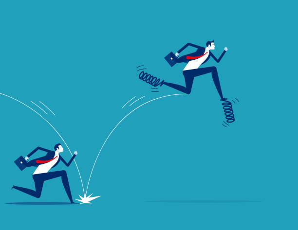 Leadership uses spring to jump in front of his companion. Business competition concept vector art illustration