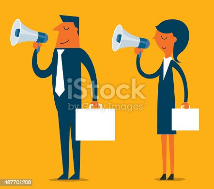 Businessman and businesswoman holding megaphone