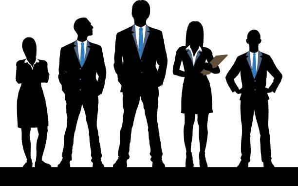 ilustraciones, imágenes clip art, dibujos animados e iconos de stock de liderazgo  - gente de negocios
