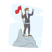 Leadership, Winner, Challenge Goal Achievement, Successful Manager Concept. Businesswoman Character Hoisted Red Flag on Mountain Top. Business Woman on Peak of Success. Linear Vector Illustration
