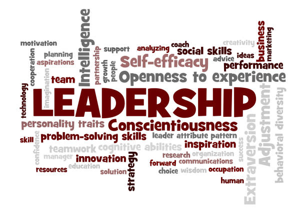 leadership Word Tag Cloud leader attribute pattern concept leadership Word Tag Cloud, shows words related to leadership and leader attribute pattern concept, vector ESP10 single word stock illustrations