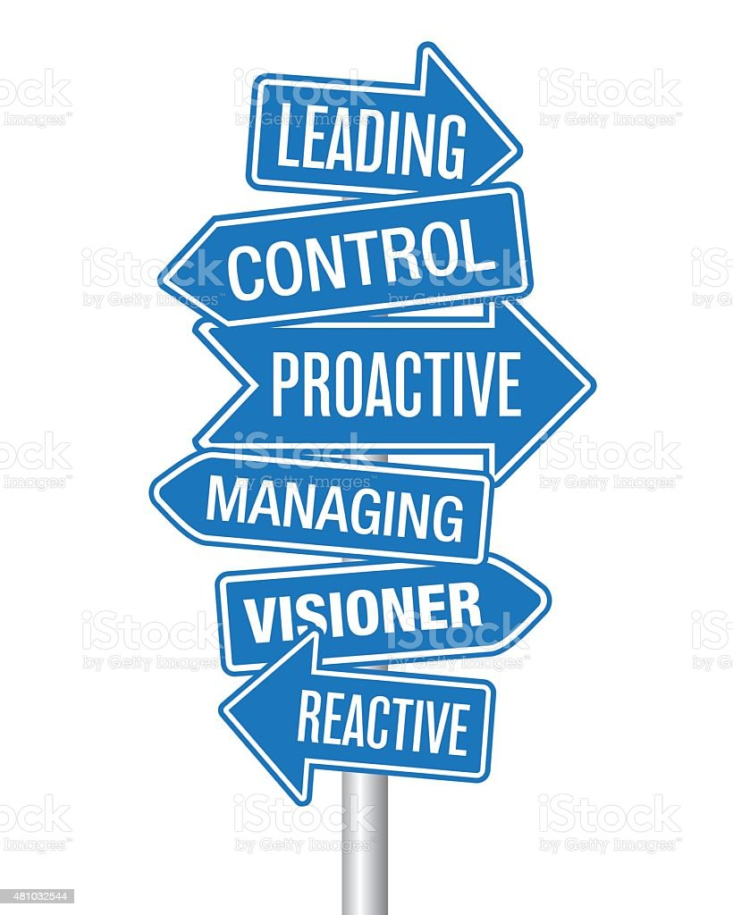 Leading and Managing arrows vector art illustration