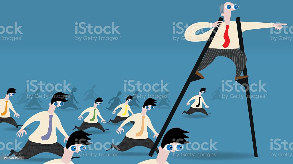 Leading from up above vector art illustration