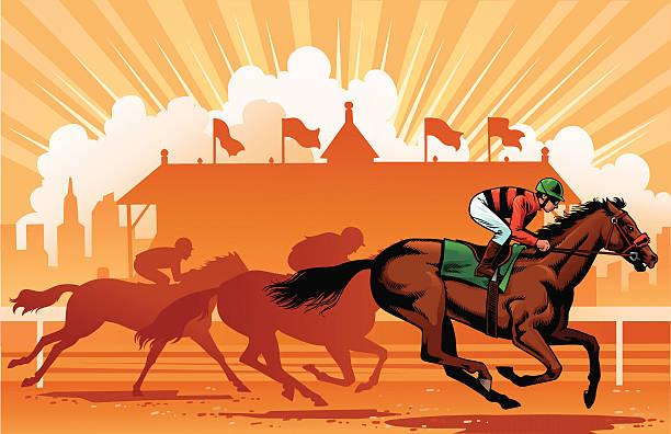 최고의 thoroughbreds 있는 경마 - horse racing stock illustrations