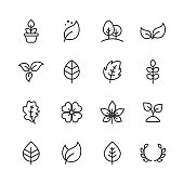 16 Leaf and Plant Outline Icons.